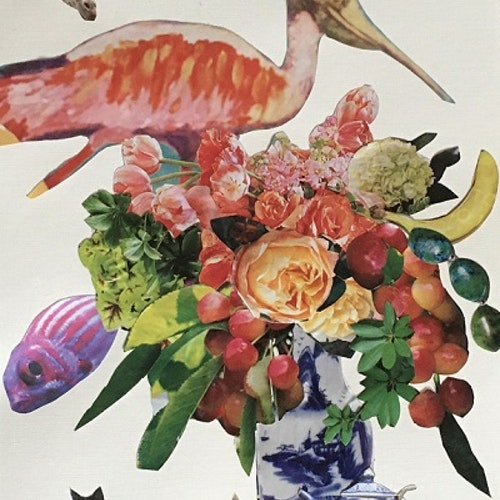 collage with flamingo