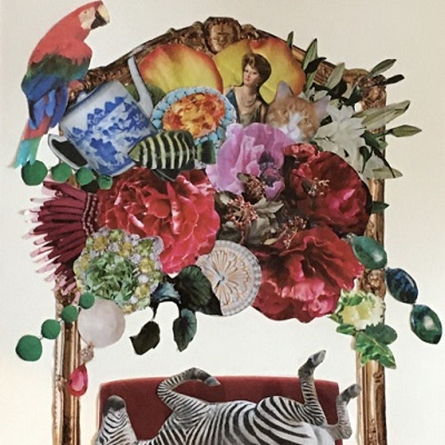 collage with zebra on settee