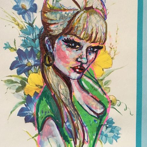 Vintage greeting card painting