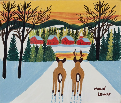 Deer and Sunset Over Township