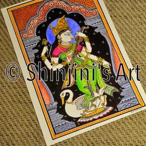 Saraswati - Kalamkari Pattachitra