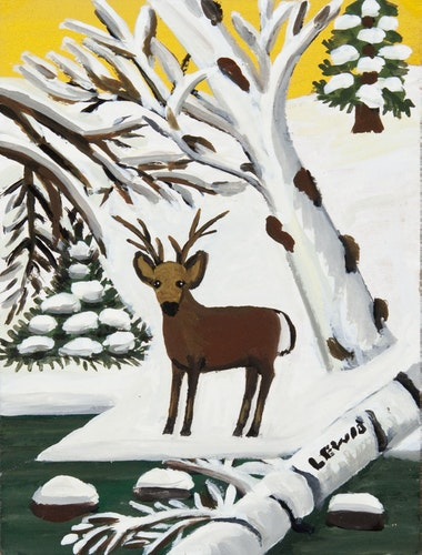Deer in Winter (Buck at Waters Edge)