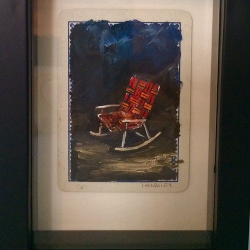 Finally - Oil on Playing Card - Framed