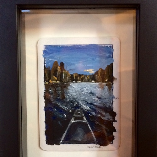 SOLD - Oil on Playing Card - Framed
