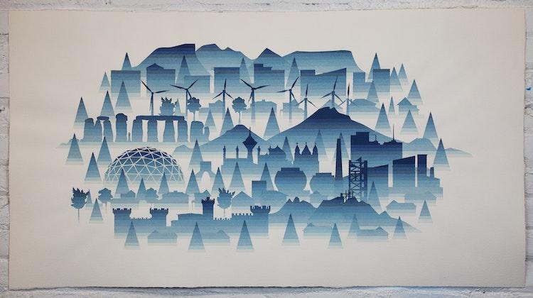 City in Fog (windmills)