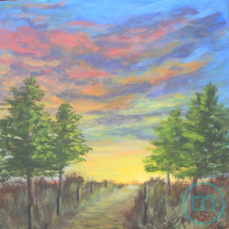 Sunrise on the Cottonwood Trail 12 x 12 Sold