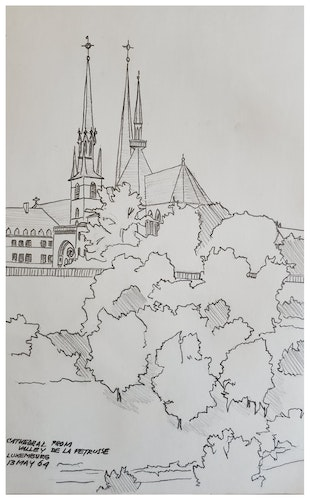 CATHEDRAL FROM VALLEY DE LA PETRUSSE, LUXEMBURG