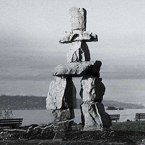 Inukshuk at English Bay - BW
