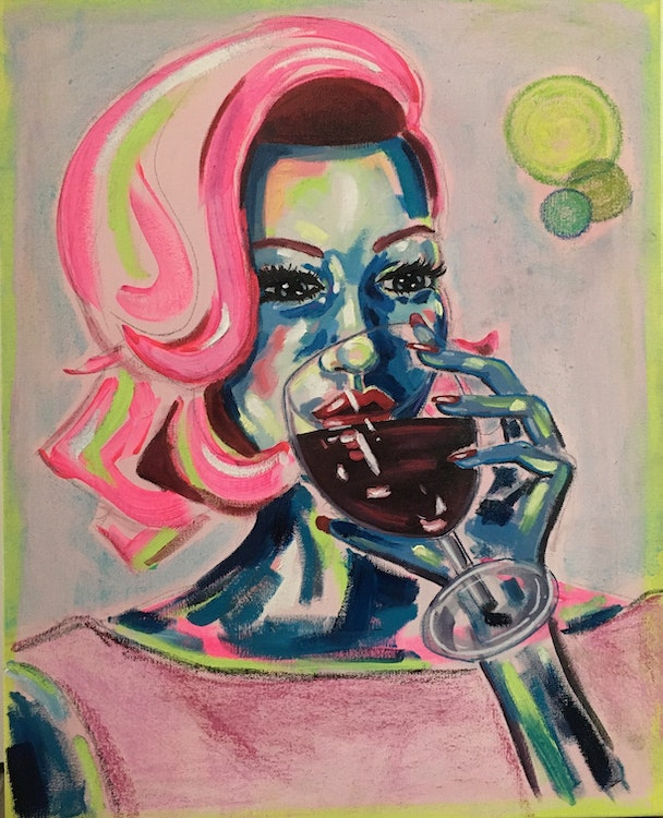 SOLD - Red Wine - 16x20