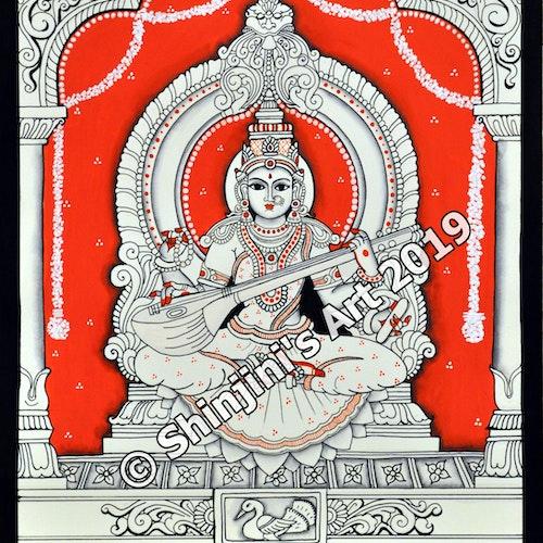 Goddess Saraswati  (Indian Kalamkari Folk Art)